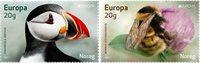Norway - EUROPA 2021 Endangered National Wildlife - Mint set 2v