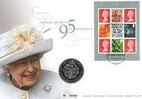England - Dronning Elizabeth 95 år - Flot møntbrev