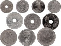Denmark - 10 different copper coins