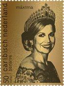 Bonaire - Dronning Maxima ægte 24 karat guld 99,9% - Indkapslet frimærke i skrin