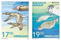Greenland - EUROPA 2021 Endangered National Wildlife - Mint set 2v