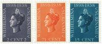 Nederland - Jubilæum Koningin Wilhelmina 1938 (nr.187-189, postfris)