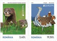 Romania - EUROPA 2021 Endangered National Wildlife - Mint set 2v