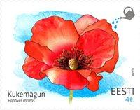 Estland - Valmueblomst - Postfrisk frimærke med valmuefrø