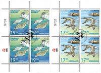 EUROPA - Truede dyrearter - Førstedagsstemplet - 4-blok øvre marginal