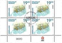 Sepac 2021: Historiske landkort - Førstedagsstemplet - 4-blok nedre marginal