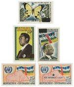 Den centralafrikanske republik - 5 forskellige frimærker - Postfrisk