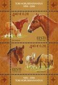 Estland - Heste - Postfrisk miniark