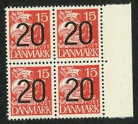Danmark 1940 - Provisorier 20/15 øre rød 4-blok - Postfrisk