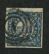 Danmark 1852 - 2 Skilling blå AFA 2b med attest - Stemplet