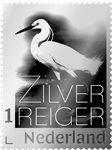 Holland - Sølvhejre frimærke i ægte sølv - Leveres i smuk folder