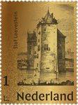 Holland - Hugo de Groot II - Loevestein slot guld - Postfrisk frimærke ægte 24 karat guld 99,9%.Indkapslet frimærke i skrin