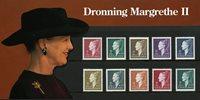 Danmark - Mappe med 10 postfriske dronningemærker