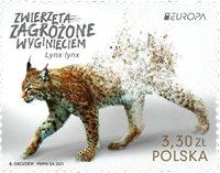 Polen - EUROPA 2021 Truet nationalt dyreliv - Postfrisk frimærke