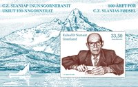 Grønland - Cz. Slania 100 år - Postfrisk miniark