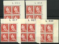 Danmark - 5 forskellige marginal 4-blokke AFA 415F  - Postfrisk