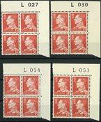 Danmark - 4 forskellige marginal 4-blokke 415F - Postfrisk