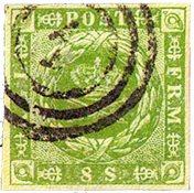 Danmark 1854 - AFA 5 - 8 Skilling grøn