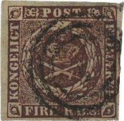 Danmark 1853 - AFA 1-IIb - Fire RBS. Thieles II t ryk