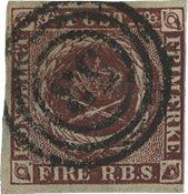 Danmark 1852 - AFA 1/Ia - Fire RBS. Thieles I tryk