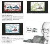 Grønland - Cz. Slania 100 år - Souvenirmappe med miniark fra Grønland, Danmark og Færøerne