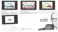 Færøerne - Cz. Slania 100 år - Souvenirmappe med de tre miniark fra FÆ,GR,DK samt sorttryk Færøerne
