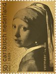 """Saba - """"Girl with a Pearl Earring"""" by Vermeer - Mint 24 carat gold stamp in box"""
