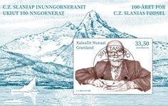 Cz. Slania 100 år - Centralt dagstemplet - Miniark