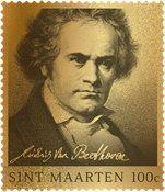 St. Martin - Beethoven guldfrimærke i skrin - Ægte 24 karat guld 99,9% indkapslet og i skrin    Oplag kun 250 stk.