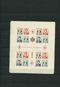 Monaco 1951 - Røde Kors provisorier miniark - Postfrisk
