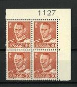 Danmark 1953 - AFA 337c i marginal 4-blok - Postfrisk