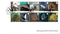Storbritannien- Kystens dyrelive - Stemplet sæt 10v opklæbet