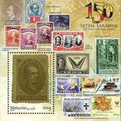 Malaysia - 150 år med Sarawak frimærker - Postfrisk miniark
