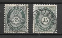 Norge 1877 - AFA 29 + 29a - Stemplet