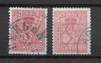 Norja 1867 - AFA 15 + 15A - Leimattu