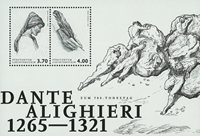 Liechtenstein - Dante Alighieri, 700 memorial - Hoja bloque nuevo