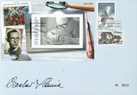 Sverige - Cz. Slania 100 år - Specialkuvert med trykt autograf og yderligere to Slania frimærker