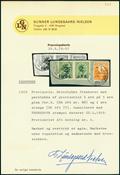 Faroer 1919 - Provv. 2/5 oere verde in coppia + 1  o. arancio su frammento