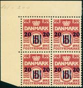 Færøerne provisorie AFA 3 4-blok postfrisk