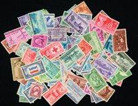 100张不同在1961年以前全新的带图像标志的美国邮票