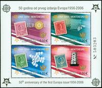 Montenegro Europa miniark nr.2 takket