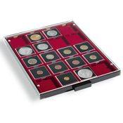 Møntboks - Røgfarvet - 20 kvadratiske inddelinger indtil 50 mm Ø