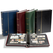 Stockbook w. Slipcase - Red - Size A4 - 64 black pages - padded leather cover