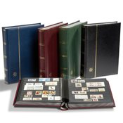 Stockbook w. Slipcase - Blue - Size A4 - 64 black pages - padded leather cover