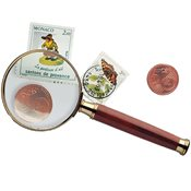 Handle Magnifier with glass lens, gold-plated metal rim, 3xmagnification, Ø 50 mm