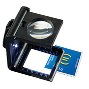 Folding magnifier 5x magnification, with LED