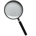 Magnifier glass with handle, 4x magnification