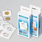 Møntholdere MATRIX hvid 37.5 mm selvklæbende - pk.  med 100 stk. - Leuchttur