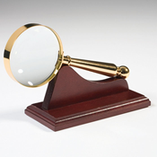 Gold-plated Magnifier with wooden support, magnification 4x, Ø 58 mm