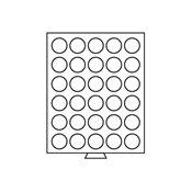 Møntboks - Røgfarvet - 30 runde inddelinger med 37  mm Ø